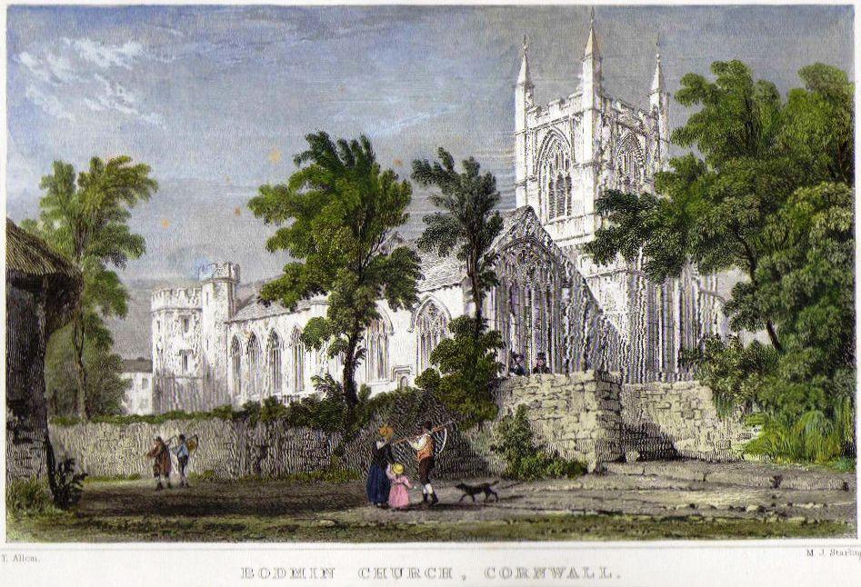 Engraving St Petrocs Church Bodmin circa 1830