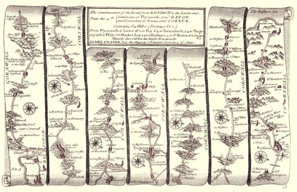 Cornwall Strip Map circa 1720
