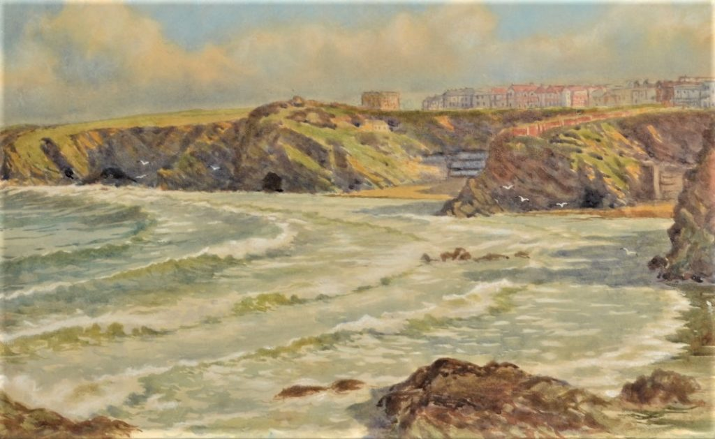 DOUGLAS PINDER Near Newquay Beaches Watercolour Signed 27 x 37cm [27.07.2017]