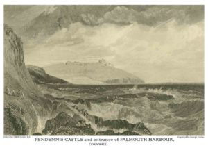 Pendennis Castle, entrance of Falmouth Harbour, Cornwall. An engraving, from a drawing by J M W Turner