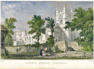 Steel Engraving - St Petrocs Church Bodmin c1832