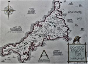 THE DOMESDAY - REPRO MAP OF CORNWALL 1086