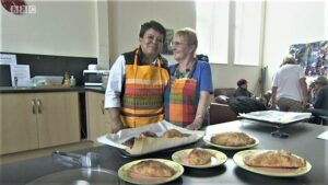 President Redruth Old Cornwall Society - Vanessa Moyle [Right] Pasty making