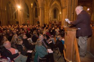 Truro Cathedral Cornish Diaspora carol service - Bert Biscoe reading & Grand Bard in crowd