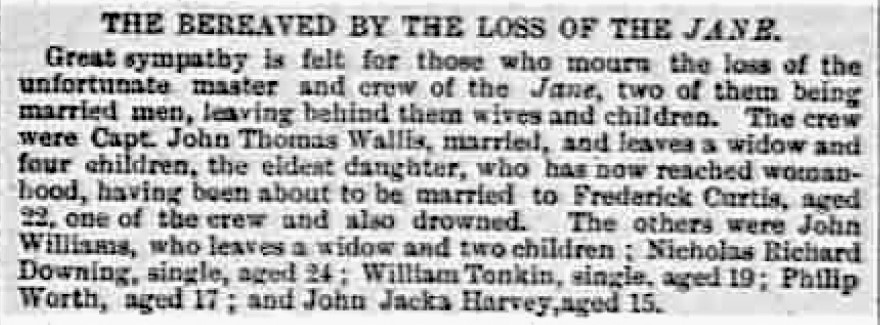 The Bereaved by the loss of the Jane