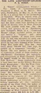 F C Hirst Obituary as reported in the Times