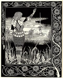 How Sir Bedivere Cast the Sword Excalibur into the Water, Beardsley, Aubrey (1872-1898)