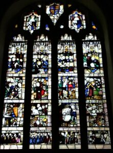 St Kew Church, The north chapel east window showing scenes from the Passion of Christ, after restoration.