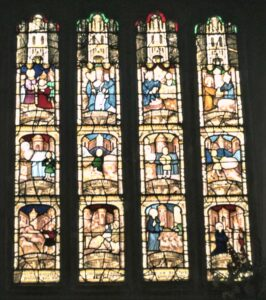 St Neot, Twelve scenes of the life of St Neot. Given by Young men of parish in 1530