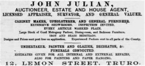 John Julian Advert - Cornishman 20th December 1883
