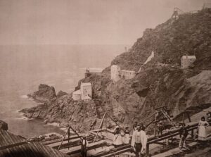 Botallack Mine and The Crowns as it was in the 1860s - from a display photo at Geevor Mine