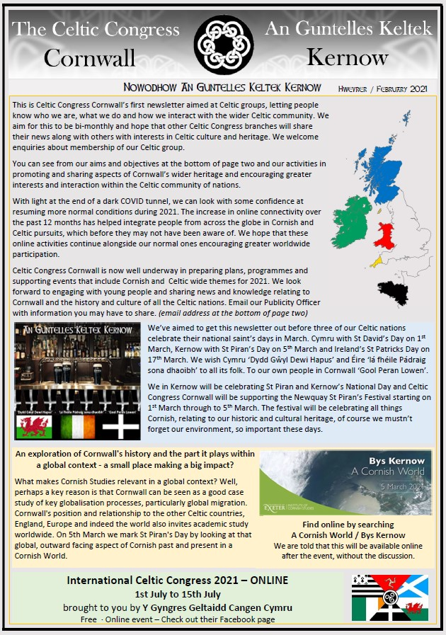 Celtic Congress Cornwall - Newsletter [1 - February 2021]