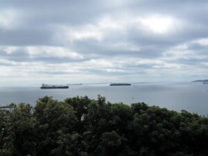 Commercial vessels off Carrick Roads from Pendennis