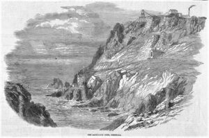 Engraving ot the Botallack Mine - Illustrated London News - August 28th 1852