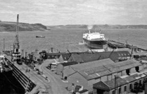 Falmouth Docs 1960 view across docks to Carrick Roads
