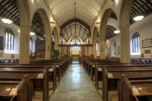 St Petroc's Church, Padstow. Nave and chancel with ceiled waggon roofs and side aisles with open waggon roofs,