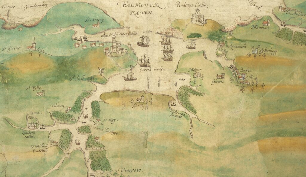 Map of Falmouth Haven and the River Fal as far as Truro 1550-1600