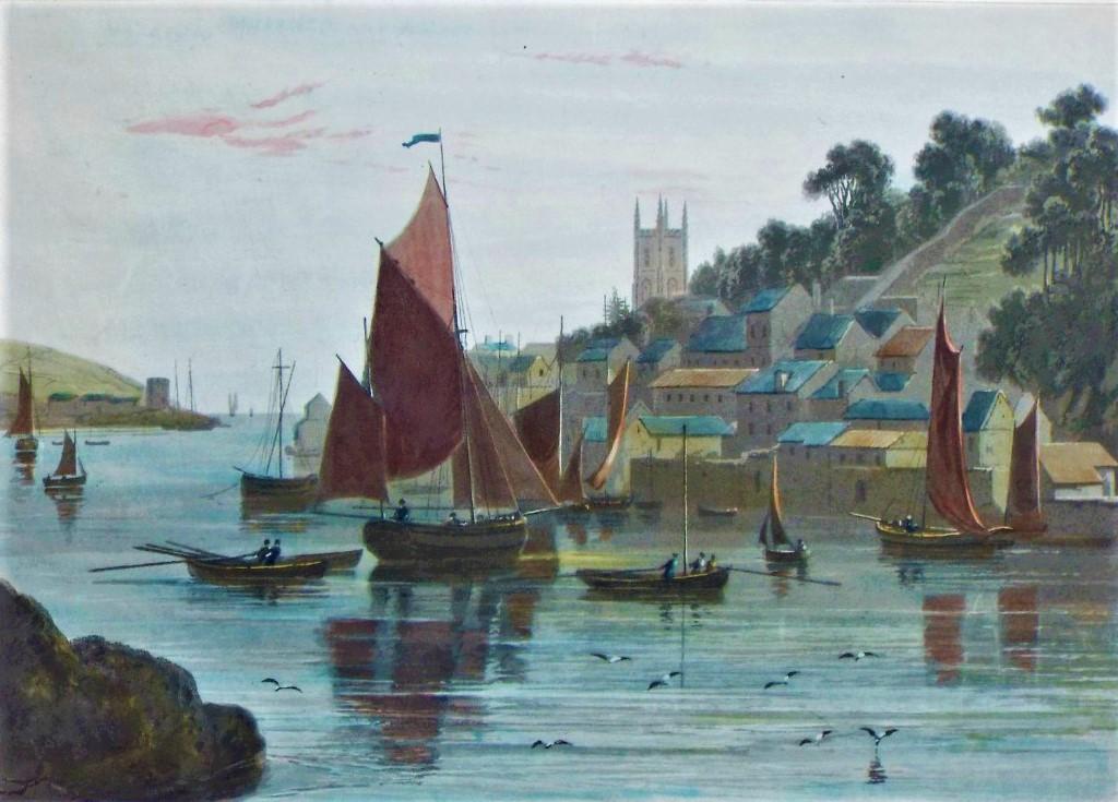 Fowey from Bodenick by William Daniel 1825