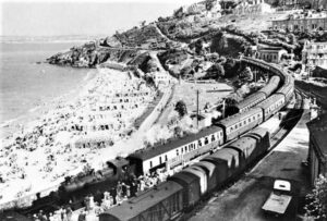 St Ives Station early 1950's - No' 4545 arrives with ten coaches of the Cornish Riviera Express