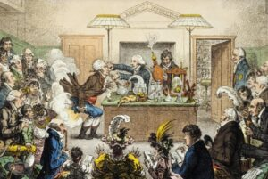 1802 satirical cartoon by James Gillray showing a Royal Institution lecture including 'laughing gas', with Davy holding the bellows