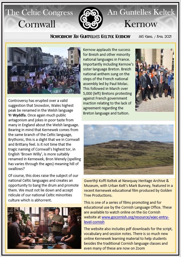 Celtic Congress Cornwall - Newsletter - No'2 April 2021