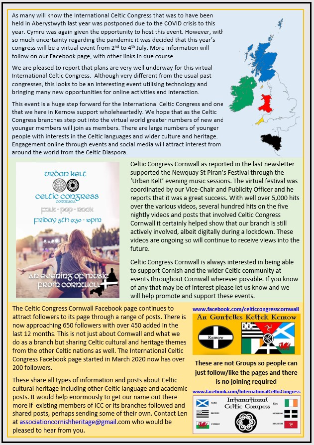 Celtic Congress Cornwall - Newsletter - No'2 April 2021 {page two]