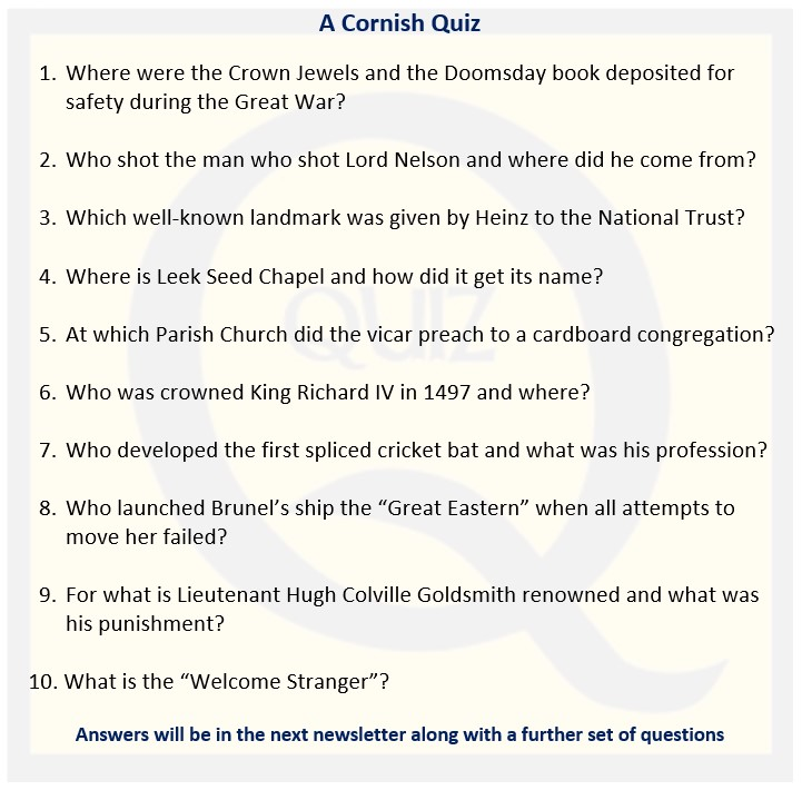 Celtic Congress Cornwall Newsletter Quiz - April 2021