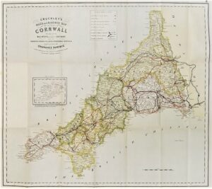 Cruchley's Road and Railway Map of the County of Cornwall - 1846