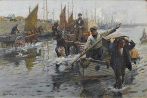Harold Harvey - Unloading the boats, Newlyn Harbour 1906