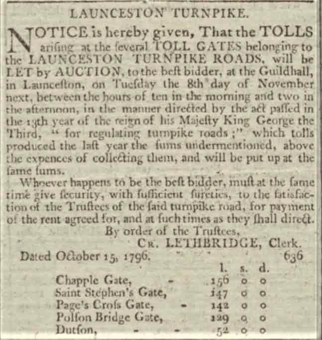 Launceston turnpike trust tenders October 1796