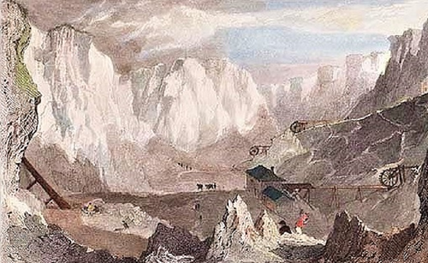 Carlaze Tin Mine Near St. Austle engraving by W. Le Petit after T. Allom. Circa 1835, with later hand colouring.