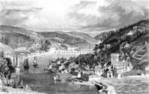 East & West Looe circa 1825 showing the 14 arched bridge