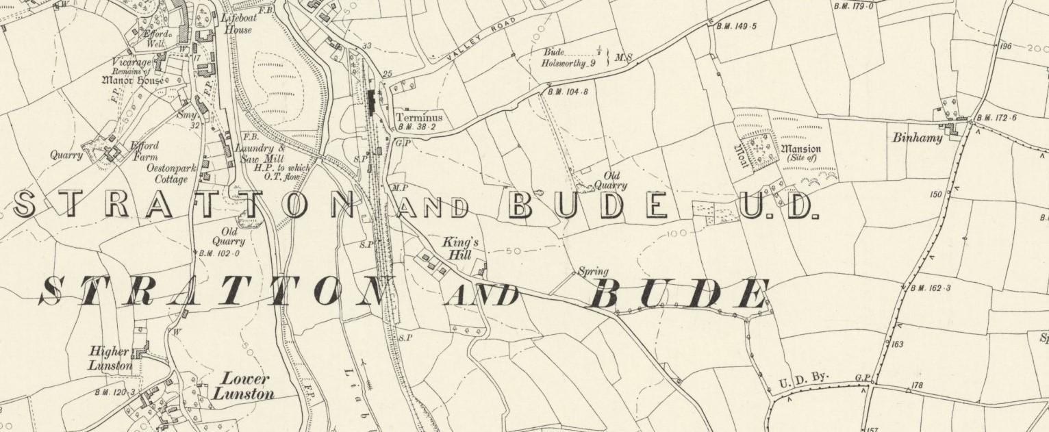 Binhemy Manor SW of Stratton Map 1905