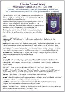 St Ives Old Cornwall Society Meetings 2021-2022