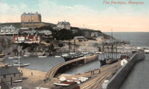 Newquay The Harbour Port Ship Boats - 1915
