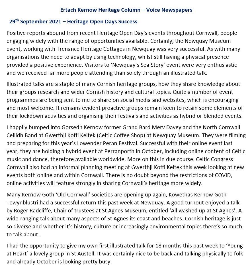 Ertach Kernow Heritage Column - 29 September 2021 - Heritage Open Days Success