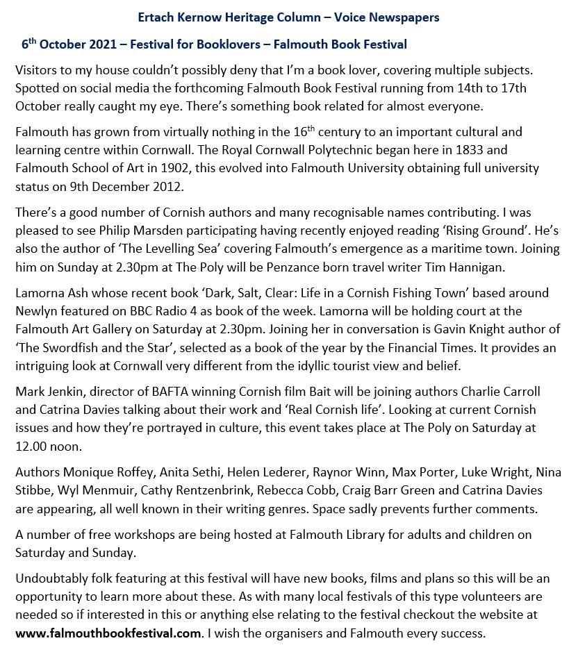 Festival for Booklovers – Falmouth Book Festival