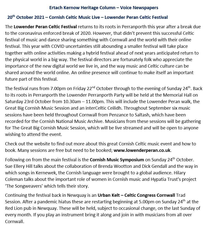 Ertach Kernow Heritage Column - 20th October 2021 - Cornish Celtic Music Live – Lowender Peran Celtic Festival