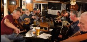 Preparing for 'The Great Big Cornish Music Session' at Benbow, Penzance Session