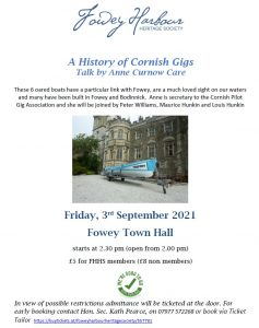 History of Cornish Pilot Gigs - To be rescheduled
