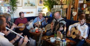 Preparing for 'The Great Big Cornish Music Session' at Gwerthji Koffi Keltek, Newquay Session