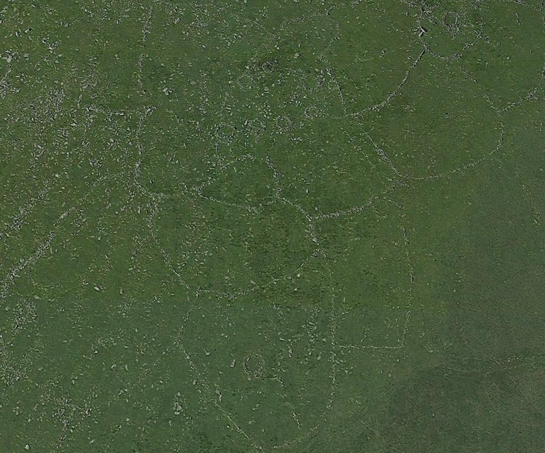 Leskernick settlement aerial shot showing irregular field boundaries